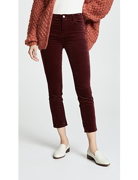 Ruby High Rise Velvet Crop Cigarette Pants by J Brand