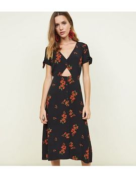 Black Floral Up Button Cut Out Midi Dress by New Look