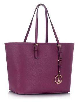 Purple Large Tote Bag by Trendeo