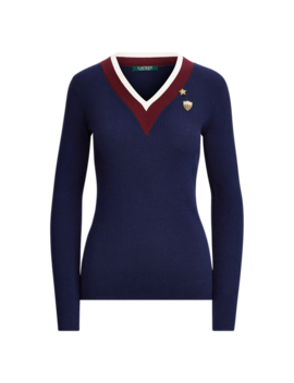 Stripe Trim Patch Sweater by Ralph Lauren