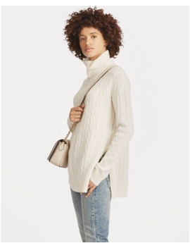 Slit Cable Turtleneck Sweater by Ralph Lauren
