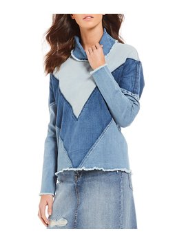 Mila Oversized Two Tone Chevron Novelty Shirting Pullover Funnel Neck Denim Top by Ella Moss
