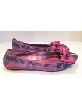 Coach Poppy Cambria Purple  Plaid Ballet Flats W/Bow  Size 8 B by Coach
