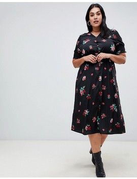Influence Plus Shirred Sleeve Floral Midi Dress With Button Down Front by Plus Size Dress