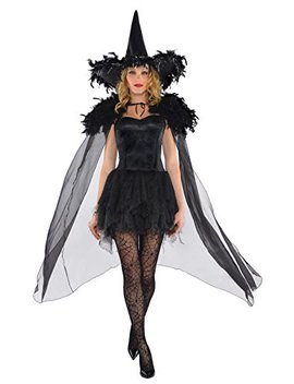 Amscan Feather Witch Cape Halloween Costume Accessories For Women, One Size, Black by Amscan