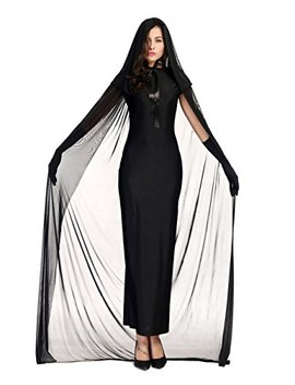 Colorful House Women's Halloween Costume Black Ghost Zombie Dress Cloak Outfit by Colorful House