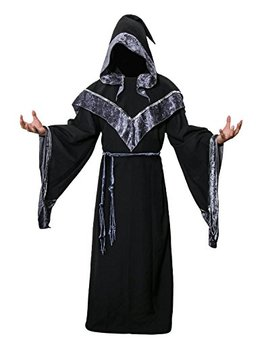 Jude Adult Men's Dark Mystic Sorcerer Robe Halloween Cosplay Costume With Hooded Cape by Jude