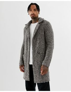 Asos Design Heavyweight Textured Duster Jacket In Gray by Asos Design