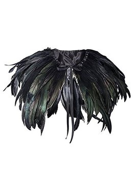 Homelix White Black Feather Cape Shawl Collar (F01 Black) by Homelix