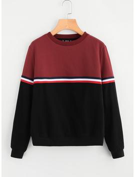 Striped Tape Detail Two Tone Sweatshirt by Romwe