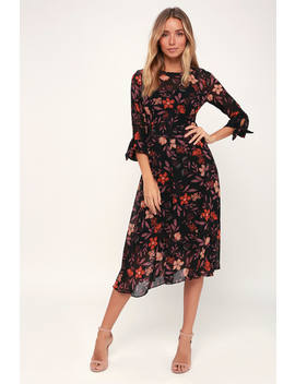 Passionate Love Black Floral Print Midi Dress by I. Madeline