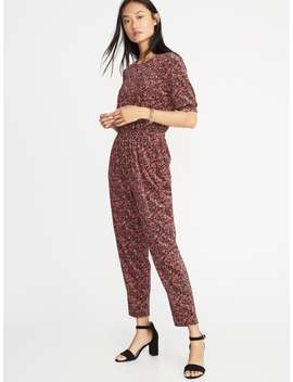 Velvet Smocked Sleeve Jumpsuit For Women by Old Navy