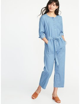 Chambray Tie Belt Utility Jumpsuit For Women by Old Navy