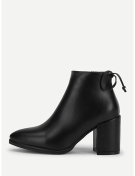 Bow Tie Chunky Heeled Boots by Romwe