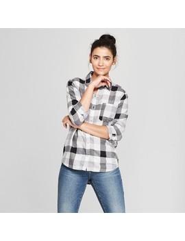 Women's Plaid Long Sleeve Shirt   Universal Thread™ Gray by Universal Thread™