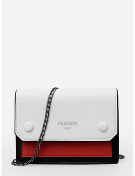 Colorblock Flap Pu Bag by Romwe