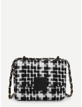 Plaid Flap Crossbody Chain Box Bag by Romwe
