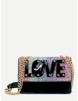 Glitter Panel Flap Chain Bag by Romwe