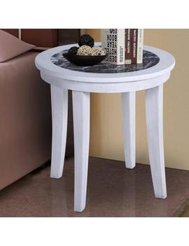 Prima Sleep 22''h Natural Marble From Italy Top Wood Round Coffee Table/ Side End by Prima Sleep