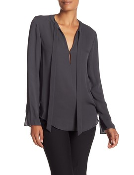 Kimry Tie Neck Silk Blouse by Theory