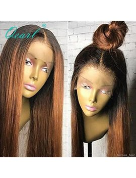 Qearl 1 B Dark Roots Ombre Color Human Hair Lace Front Wig With Baby Hair Straight Remy Hair 130 Percents Pre Plucked Real Front Lace Wig by Qearl Hair