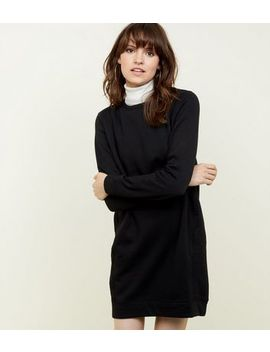 Black Marl Longline Sweatshirt by New Look