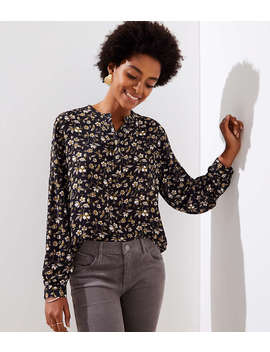 petite-floral-lantern-sleeve-henley-blouse by loft