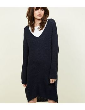 Jdy Navy V Neck Knitted Dress by New Look