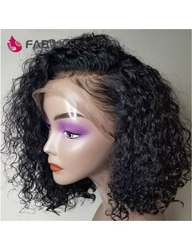 "Fabwigs 180 Percents Density Bob Wig 13x4"" Lace Front Human Hair Wigs Brazilian Short Human Hair Wigs Curly Lace Front Wig by Fabwigs"