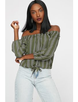 Off The Shoulder Printed High Low Front Knot Blouse by Urban Planet