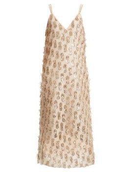V Neck Tinsel Midi Slip Dress by Raey