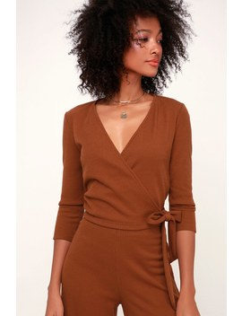 En Cloche Rust Brown Ribbed Wrap Top by Lulus