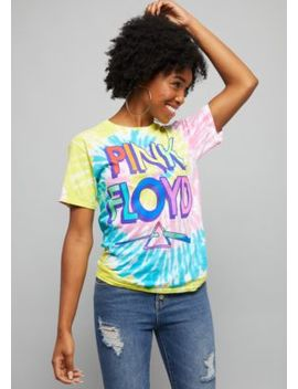 Bright Tie Dye Retro Pink Floyd Oversized Tee by Rue21