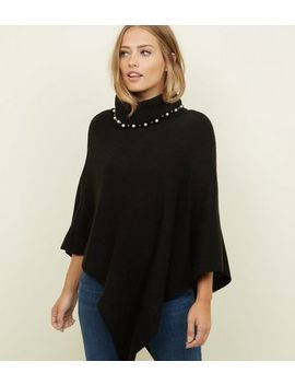 Mela Black Beaded Roll Neck Knitted Poncho by New Look