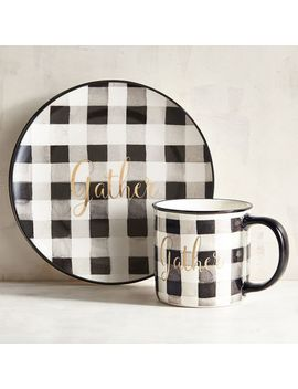 Gather Black & White Buffalo Check Dinnerware by Grateful Harvest Collection