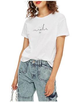 Paris Skyline T Shirt by Topshop