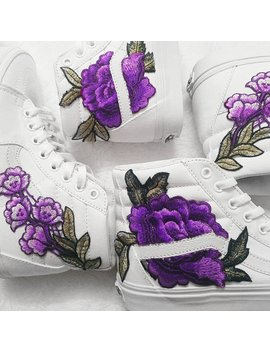 Bright Colors! True White Rose Floral Embroidered Patch Vans Sk8 Hi by No More Panties In La