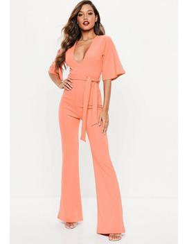 Terracotta Plunge Kimono Jumpsuit by Missguided
