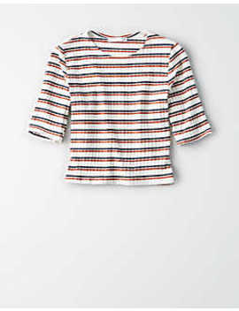 Don't Ask Why Ribbed 3/4 Sleeve Striped Crop Top by American Eagle Outfitters
