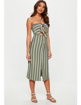 Khaki Tie Front Stripe Midi Dress by Missguided