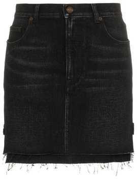 Saint Laurentfaded Effect Mini Skirthome Women Saint Laurent Clothing Denim Skirts by Saint Laurent
