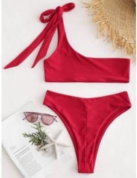 One Shoulder Bralette  Bikini Set   Love Red M by Zaful