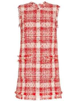 Check Tweed Mini Dress by Msgm