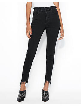 Petite Super High Waisted Black Denim Perfect Ankle Jean Leggings by Express