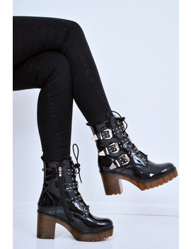 Black Patent Stud Buckle Detail Chunky Heeled Boots   Isra by Rebellious Fashion