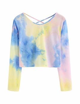 Sweaty Rocks Women's Tie Dye Print Crop Top T Shirt Long Sleeve by Sweaty Rocks