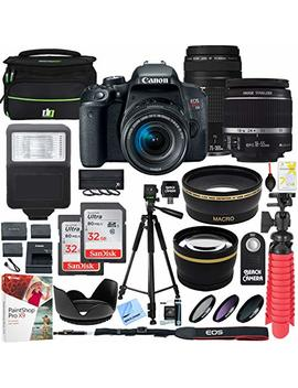 Canon Eos Rebel T7i Dslr Camera With Ef S 18 55mm Is Stm & 75 300mm Lens + 2 X 32 Gb Ultra Sdhc Uhs Class 10 Memory Card + Accessory Bundle by Canon
