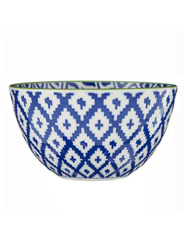 John Lewis & Partners Fusion Ikat Bowl, Dia.12.6cm, Light Blue by John Lewis & Partners