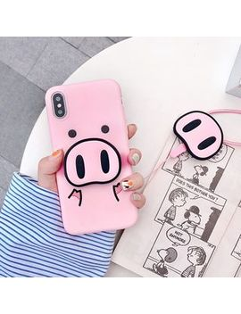 Milk Maid   Pink Pig Printed Phone Case With Stand   I Phone X / 8 / 8 Plus / 7 / 7 Plus / 6s / 6s Plus by Milk Maid