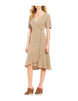 Pinstriped Flounce Dress by First Monday